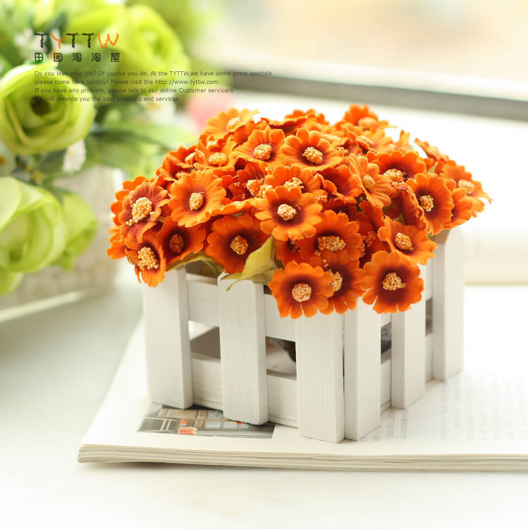 1 set ( flower +vase ) cute artificial chrysanthemum flower with wood fence vase for home table decoration(China (Mainland))