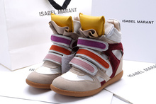 Colorful Tongue Women Multi Isabel Marant Wedge Boots Height Increasing 7cm Sneakers