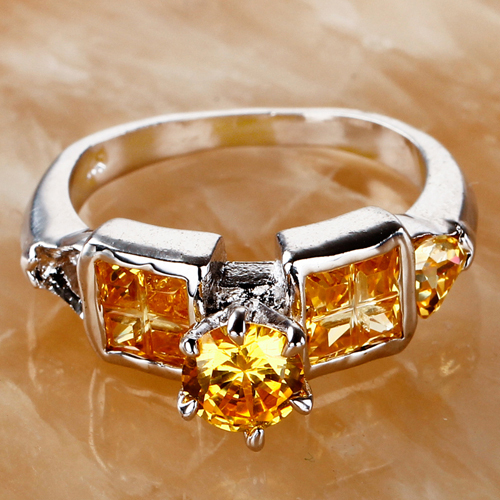 Hot Sale Fashion Gold Jewelry Women Rings Round Cut Citrine 925 Silver Ring Size 6 New Style Party Gift for Lady Noble Wholesale(China (Mainland))