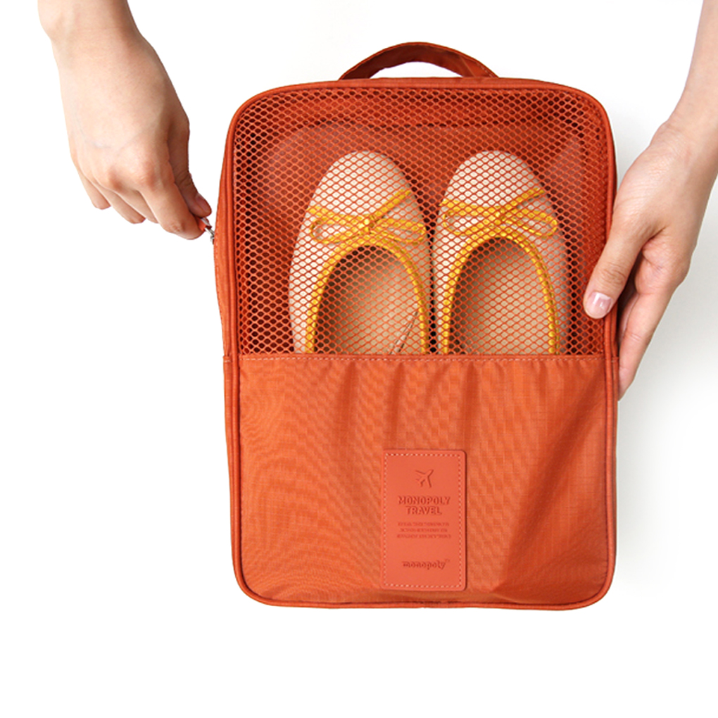 Hot sales Zipper nylon & mesh Luggage Organizer shoes Travel bags Box Stores up to 3 pairs of shoes(China (Mainland))