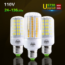 E27 New 5730 Chip Led Candle Bulb AC 120V 24-136Leds Corn Bulb Fireproof Radiation Cover LED Lamp lampada Led Spotlight Lighting(China (Mainland))