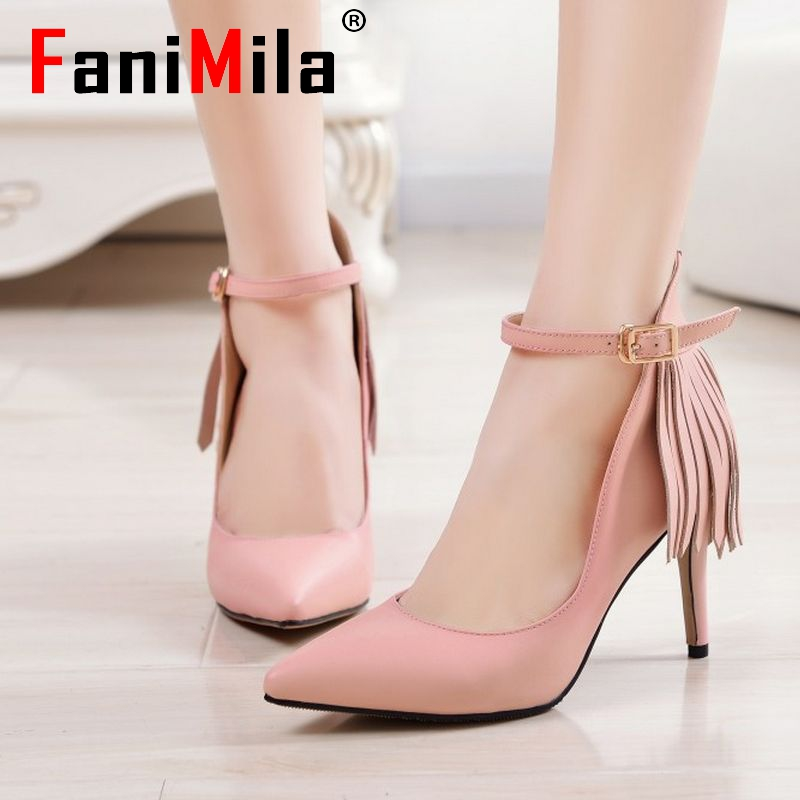size 33-41 lady pointed toe real genuine leather high heel shoes women brand sexy tassel heels fashion pumps heeled shoes R08561<br><br>Aliexpress
