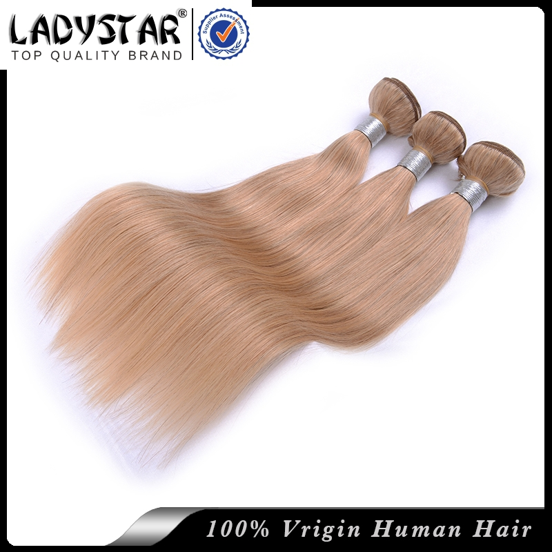 Cheap hair bundles malaysian remy hair golden color #27 silky straight weave 3 pcs set LADY STAR brand cheap human hair bundles(China (Mainland))
