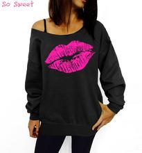 2015 New Sexy Lip Print Slash One Shoulder Women Long Sleeve Harajuku Autumn Punk T-Shirt Women Plus Size Camiseta Mujer  1342