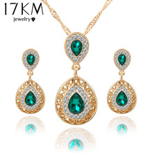 Women bridal Wedding Jewelry Sets Charm Crystal Water Drop Pendant Necklaces Earrings Sets Shininy Zircon bijoux femme 2015(China (Mainland))