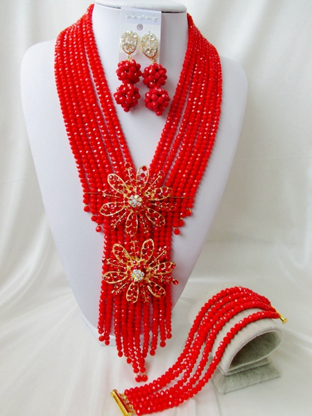 2015 Fashion african red crystal beads necklace set nigerian wedding african beads jewelry set Free shipping P-3274<br><br>Aliexpress