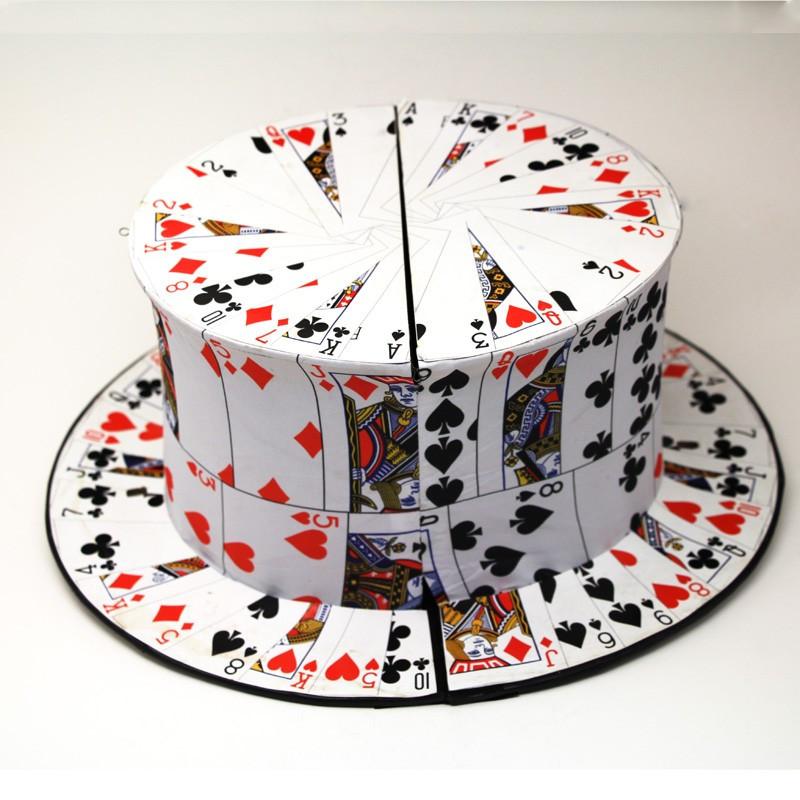 מכירה חמה מתקפל כרטיס אוהד המגבעת האביב קסם באיכות טובה כובע קסמים 1pcs/lot קלף הקסם magie אשליה כפי שראיתם בטלוויזיה