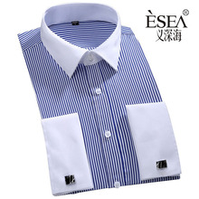Brand French cuff Men Clothes Slim Fit Men Long Sleeve Shirt Fashion Men Dress Men Shirt Social Plus Size 6XL
