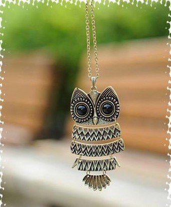 Fashion Necklace Bronze Cute Owl Necklace With Big Eye Pendant Vintage Necklace 2 colors N1(China (Mainland))