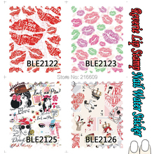 Nail Polish Mate 22Sheets/Lot Sexy Lip Stamp Nail Art Water Sticker Beauty Heart Nail Water Transfer Sticker Decal BLE2116-2126