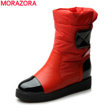 2016 new fashion flats snow boots down warm ankle boots women fashion thick fur inside platform cotton shoes(China (Mainland))