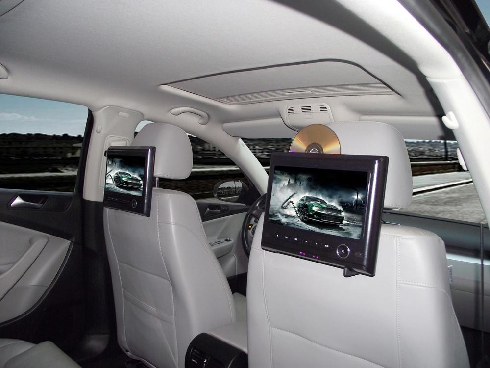 HD 9 Inch Car Headrest DVD Player DVD Monitor CD MP3 MP4 32Bit Game+720P+RMVB+AUX+IR+USB+SD+FM Free Shipping(Hong Kong)