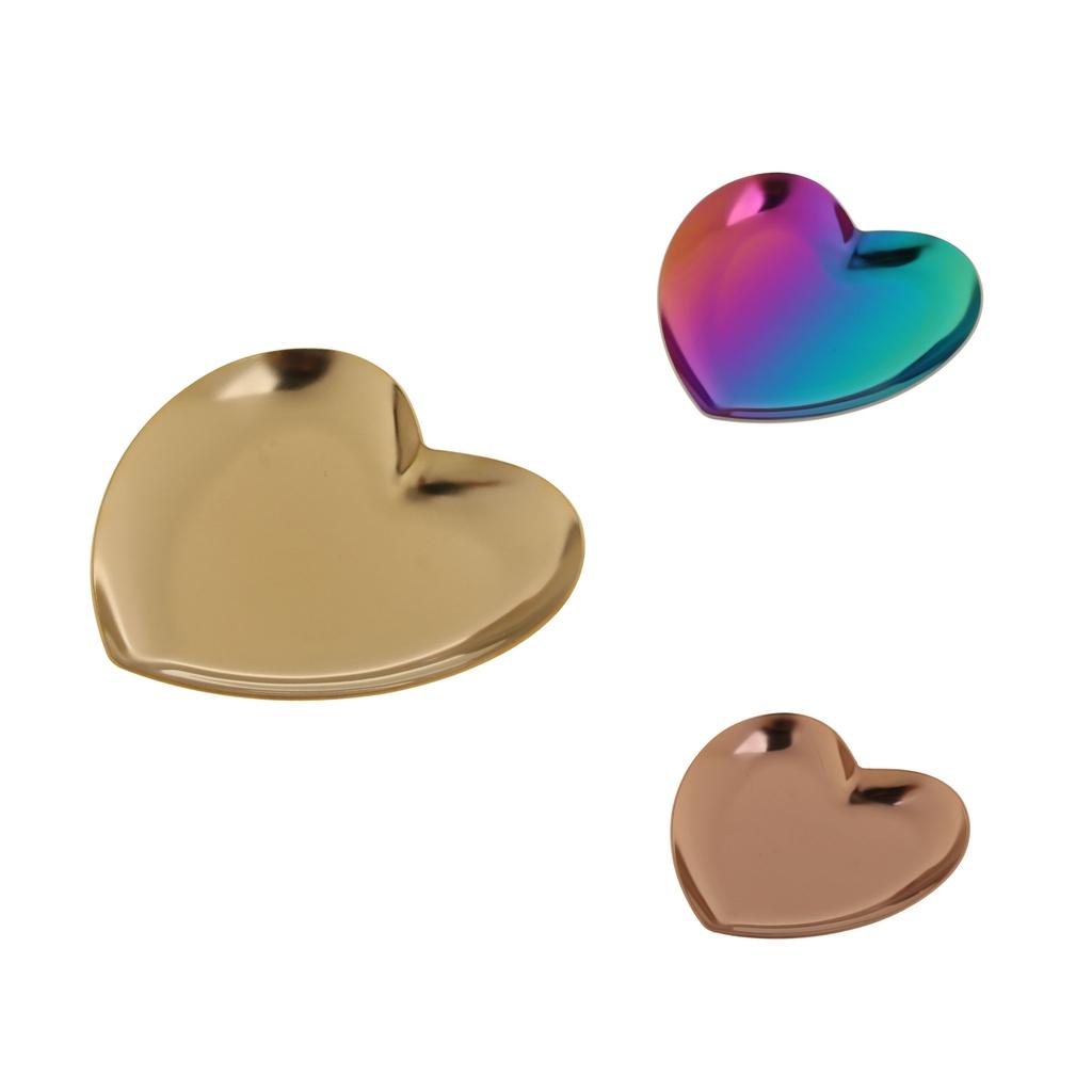 3 шт. комплект роскошные нержавеющая сталь пластина с сердечками магазин дисплей 3PCS Set Luxury Stainless Steel Heart Plate Shop Display Tray Home Storage