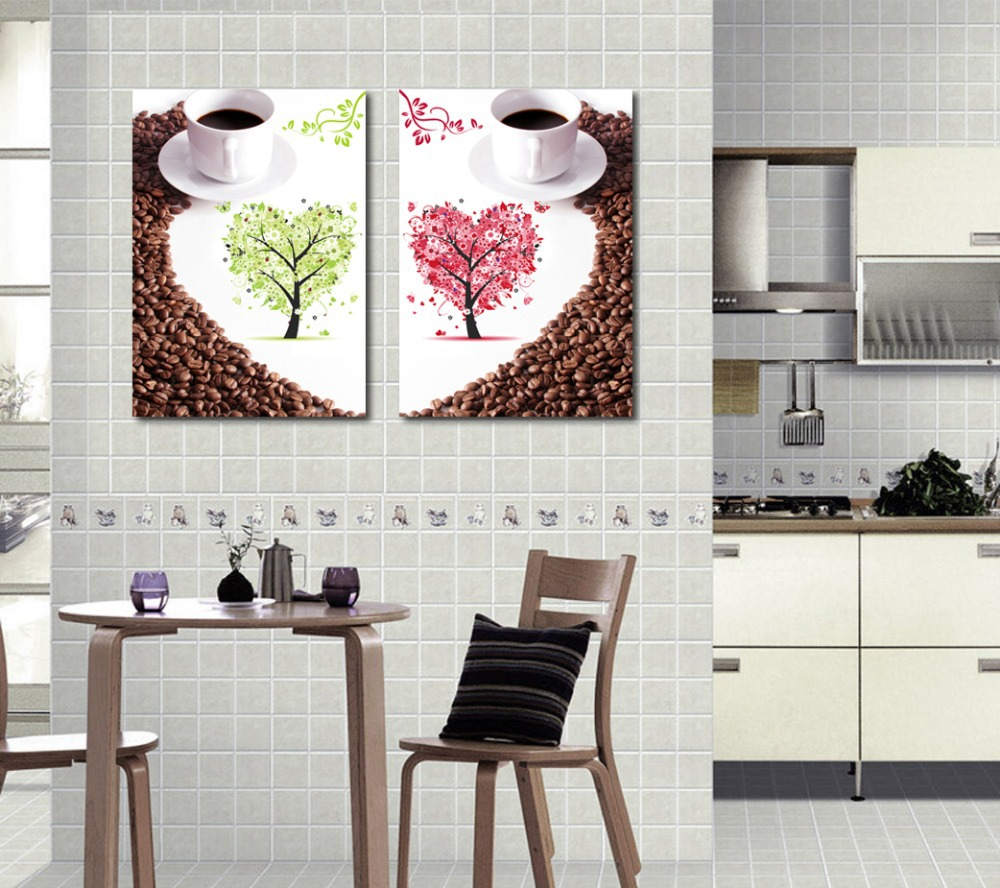 2 piece wall canvas art kitchen wall art canvas painting for Canvas dining