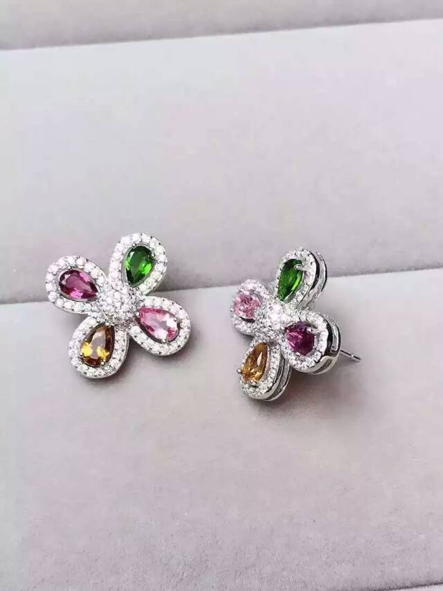 Fashion multicolor flowers natural  tourmaline stud earrings 925 sterling silver natural gem stone earring women party  jewelry<br><br>Aliexpress