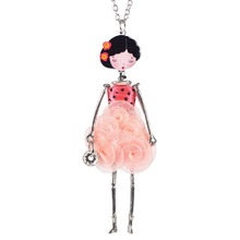 Bonsny doll necklace rose dress new 2015 acrylic alloy  girl women flower figure pendant fashion jewelry accessories