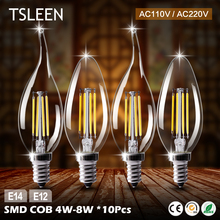 Buy TSLEEN 10x E14/ E12 Base 110V/ 220V Candle & Flame LED Bulb Lampada Bombillas Edison Retro C35 4W 8W Chandelier Cool/Warm Lights for $16.72 in AliExpress store