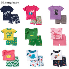 Buy H.kong baby kids Pajamas Set summer children Short Sleeve cotton sleepwear Boys Cartoon pyjamas girls cute home clothing for $5.60 in AliExpress store