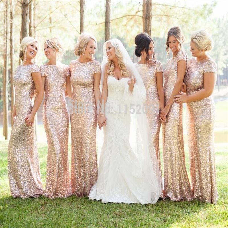 2016 spring bridesmaid dresses plus size gold sequins cap for Gold bridesmaid dresses wedding