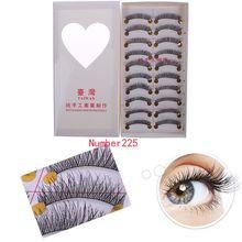 10 Pairs Makeup Handmade Fake False Eyelash Natural Look Transparent Stem 225# 54548(China (Mainland))