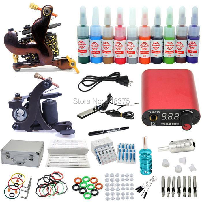 USA Dispatch Complete Starter Tattoo Kits 2 Machine Guns LCD Power 10 Inks Colors Needles Tips Grips Equipment Set A01K002(China (Mainland))