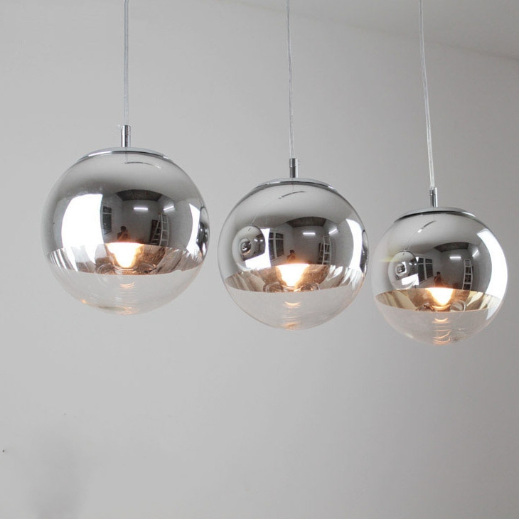 Tom dixon chrome boule en verre bubble suspension lustre 3 for Suspension 3 lumieres