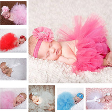 2016 New Flower Newborn Baby Tutu Skirt and Matching Headband Set Fluffy Baby Girl Tutu Skirt Baby Photography Props Shower Gift(China (Mainland))