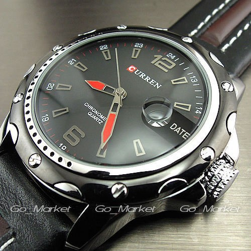 NEW CURREN BRAND DIAL MALE CLOCK HOURS HAND DATE BLACK BROWN LEATHER STRAPS MENS WRIST WATCH 3ATM WATERPROOF Wristwatches Reloj(China (Mainland))