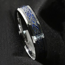 Free Shipping ! New 6Mm Silvering Dragon Tungsten Carbide Ring Mens Jewelry Wedding Band(China (Mainland))