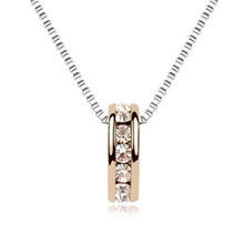 Genuine Silver/Gold Plated Cz Rhinestone Necklace Jewelry for Women(China (Mainland))