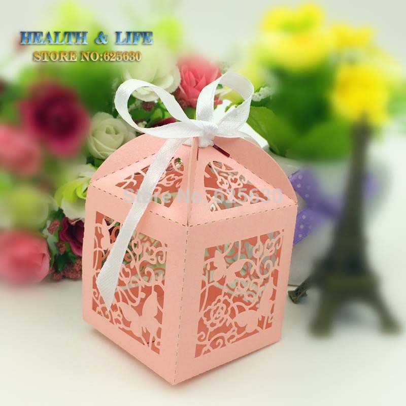 2016 New Pink butterfly Laser Cut Wedding favor Box Pearl Paper Chocolate Box,party shower candy box(with ribbon) - Health & Life store