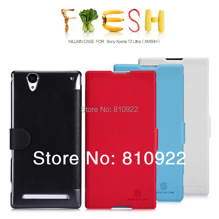 Genuine Nillkin Fresh PU Leather Case For Sony Xperia T2 Ultra Case Book Style,4 Colors,Free Gift & Shipping(China (Mainland))