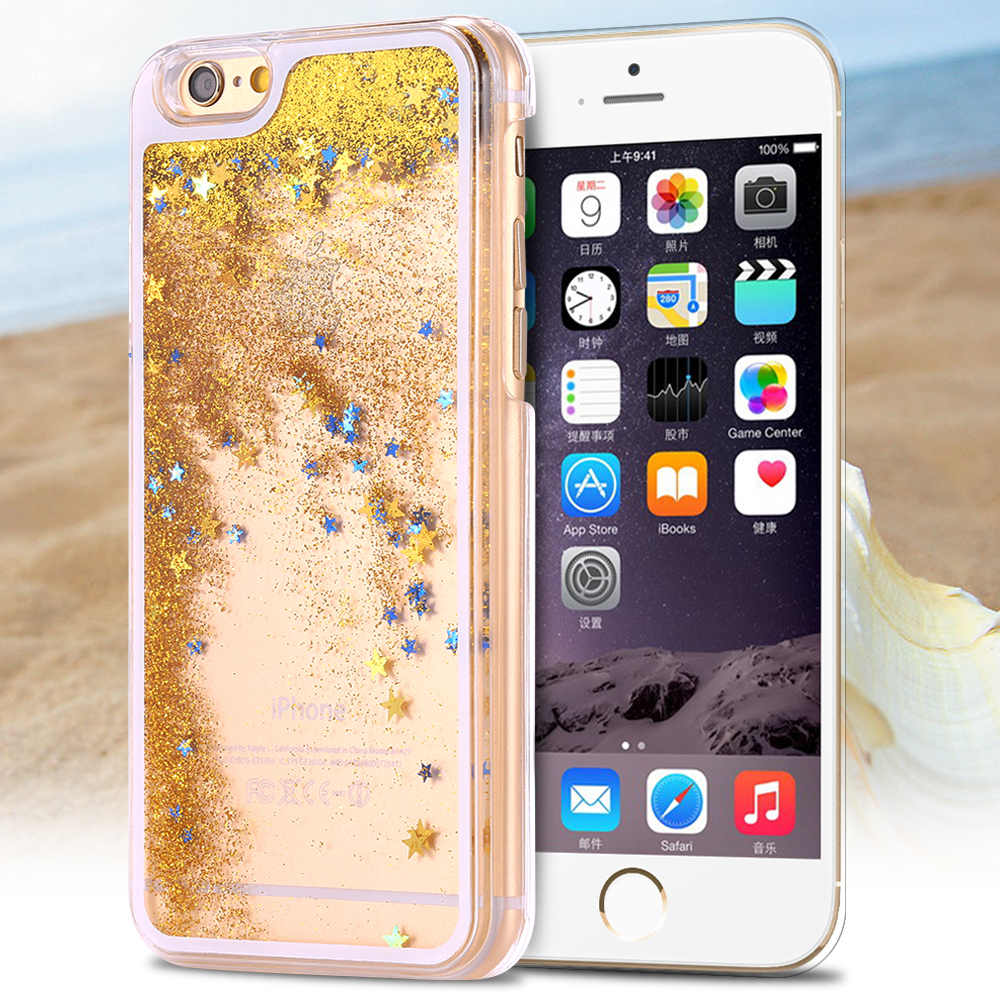 Luxury Transparent Liquid Quicksand Bling Glitter Star Case for iphone 6 4.7'' + Iphone6 Polus 5.5 Inch Hourglass Hard Back del(China (Mainland))