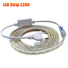 AC 220V Waterproof Flexible 5050 SMD Tira LED Strip light Silicone Tube Waterproof 60LEDs/M With EU Power Plug Led Tape Stripe(China (Mainland))