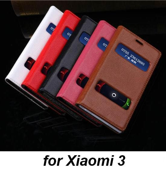 Luxury Genuine Leather Phone Cover Case for Xiaomi 3 Mi3 with 2 Smart Windows for Phone Calls Display & pick up Litchi Texture(China (Mainland))