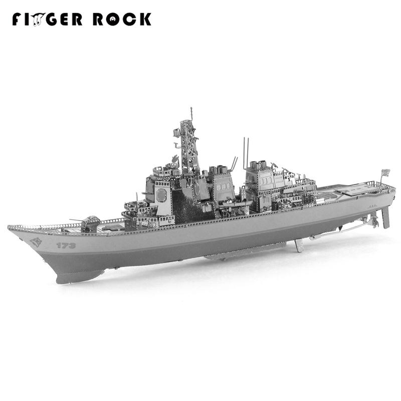 Finger Rock Chaser Destroyer Metal 3D Puzzle Military Ship Model Building Kits Children DIY Assembly Jigsaw(China (Mainland))