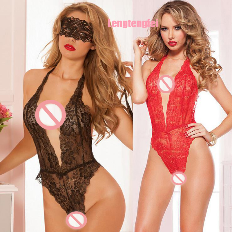 Hot 2016 Sexy Lingerie Hot Red Black Lace Deep_v Neck Teddy Sexy Underwear Erotic Lingerie Lenceria Sexy Costumes Sexy Lingerie(China (Mainland))