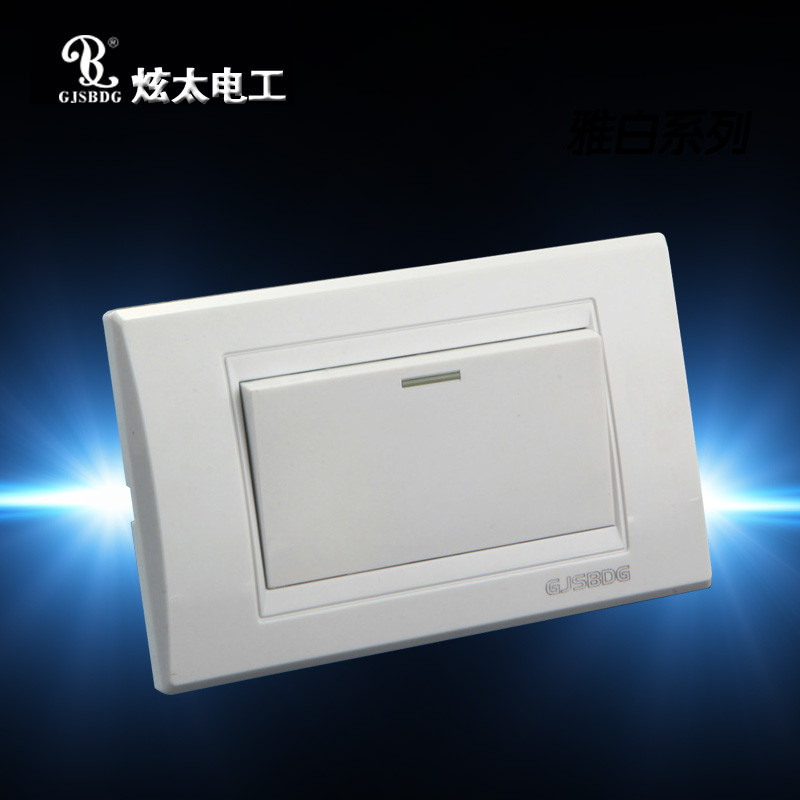 Hot Sale 1pcs 1 Gang 2 Way Wall Light Switch GJSBDG Panel Big Electric Switch Elegant White Series Electric Socket(China (Mainland))