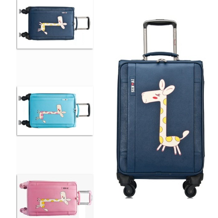 16 inch or 20 inch or 24 inch pu cute giraffe cartoon images trolley 4 wheels travel luggage or suitcase for unisex(China (Mainland))