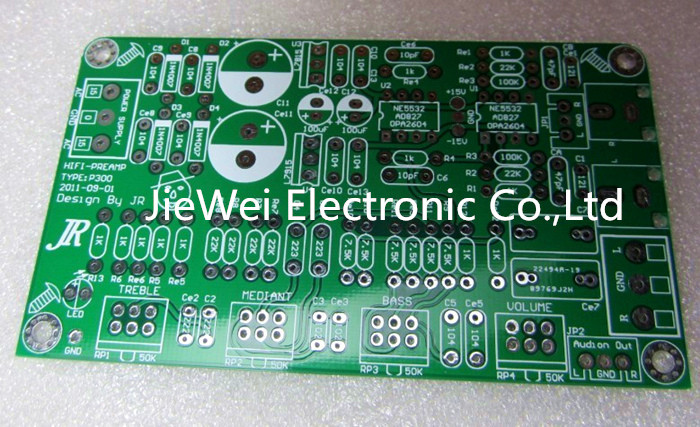(JieWei) 2.0 channel preamp PCB board NE5532 bass tone tuning plate dual audio encoding tone plate pcb bass for amplifier(China (Mainland))