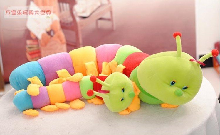 Fee shipping 50cm Colorful caterpillars millennium bug doll plush toys large caterpillar hold pillow doll