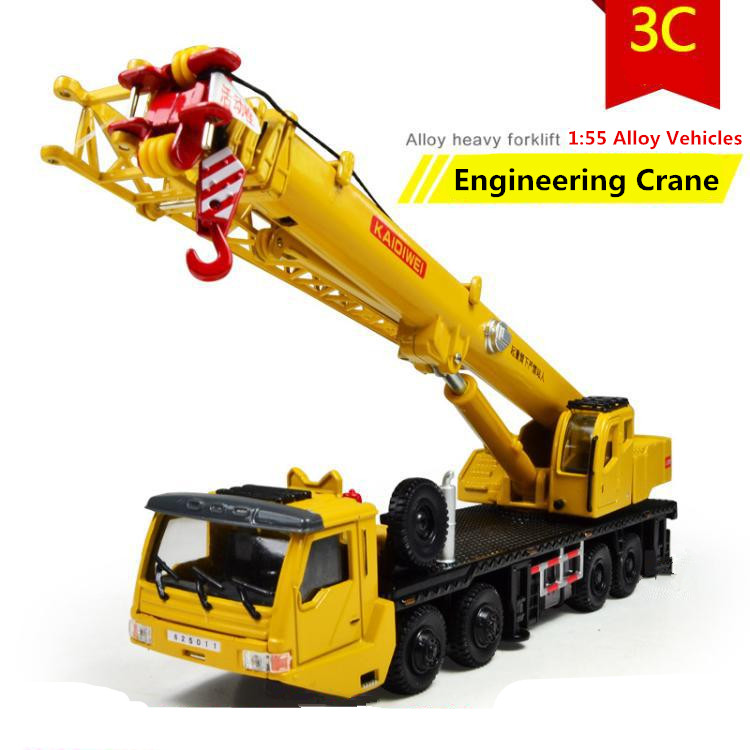 1:55 alloy Inertial truck, truck crane high simulation model, metal casting, can slide puzzle toys, free shipping(China (Mainland))