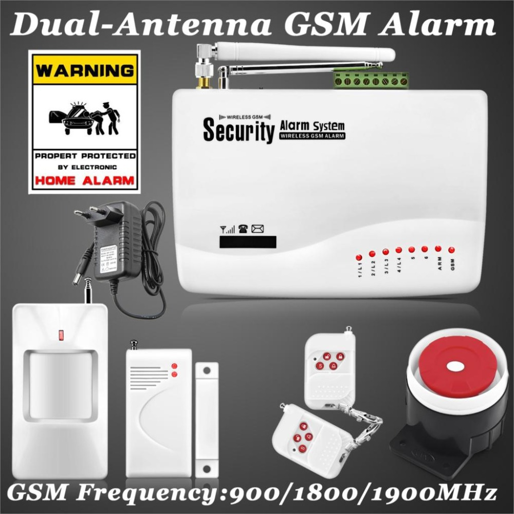 Russia Stocked Russian/English Voice Wireless GSM Alarm System Dual Antenna Alarm Systems Security Home Alarm with PIR detector(China (Mainland))