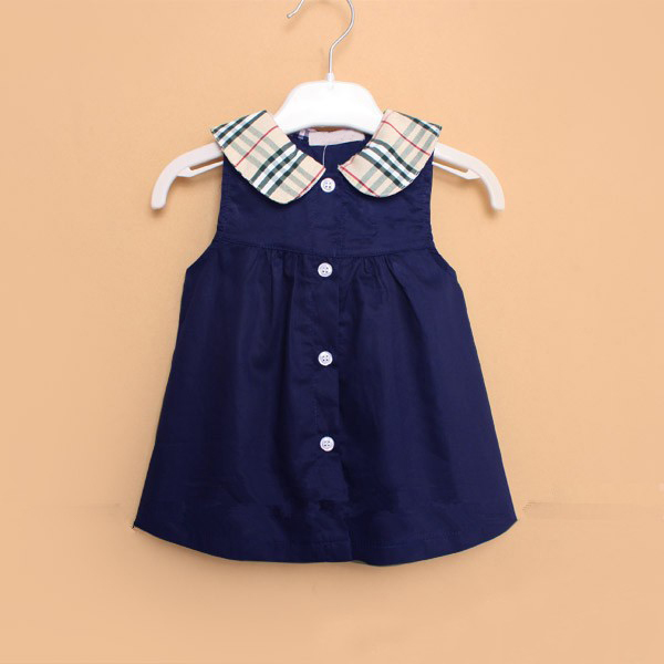 2015 new baby casual dress sleeveless plaid design summer girls clothes brand kids clothing for girl fashion princess dresses(China (Mainland))