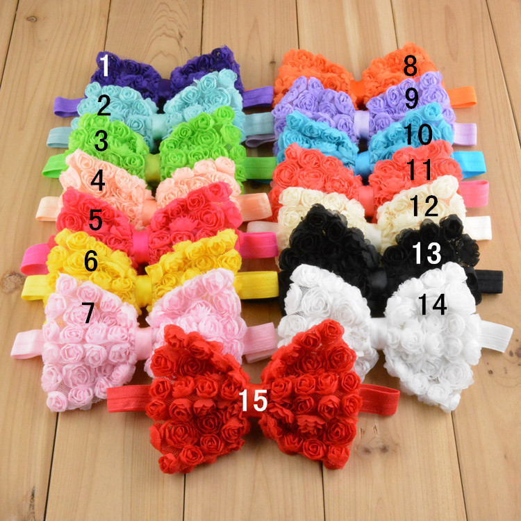 6 rows Shabby Chic Chiffon Rose Flower Bows Rosette Hair Accessory Children Baby Rosette Bows headbands for baby(China (Mainland))