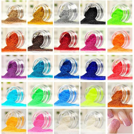 Nail Art Gel Glitter Polish Acrylic Powder Paillette Decoration Laser Powder Glitter Bright Pink Nail Tools 12 Color(China (Mainland))