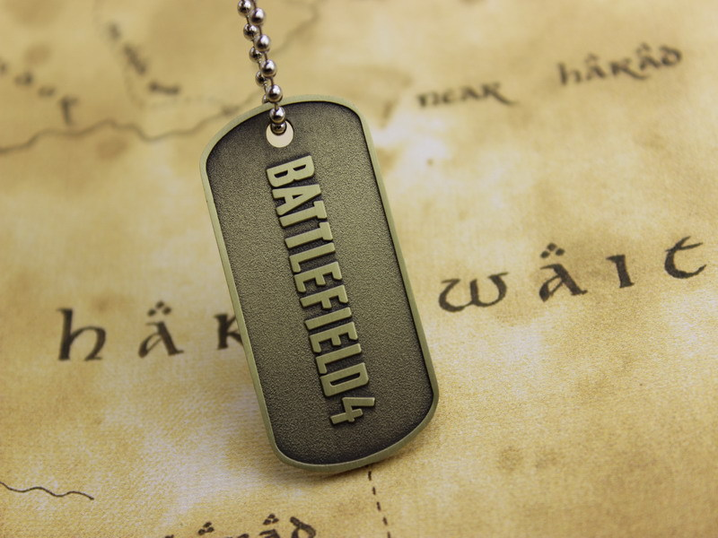 Battlefield 4 BF4 male fashion dog tag jewelry military license necklace buy one get free shipping gifts(China (Mainland))