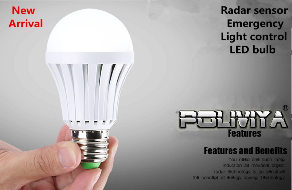 New arriva LED light bulbs Smart Radar Motion Sensor emergency Ampoule Led E27 Lampada Led Auto light control LED bulb Lighting(China (Mainland))