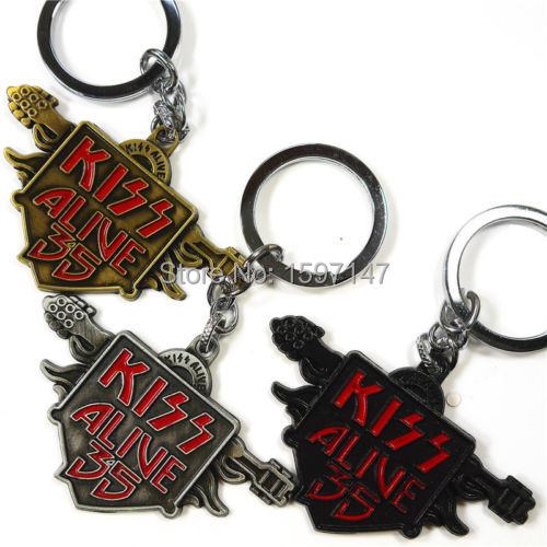 2015 New Arrival Metal Punk Music Band Kiss Alive 35 Metal Keychain Best Keyring Gift For Funs 10pcs/lot(China (Mainland))