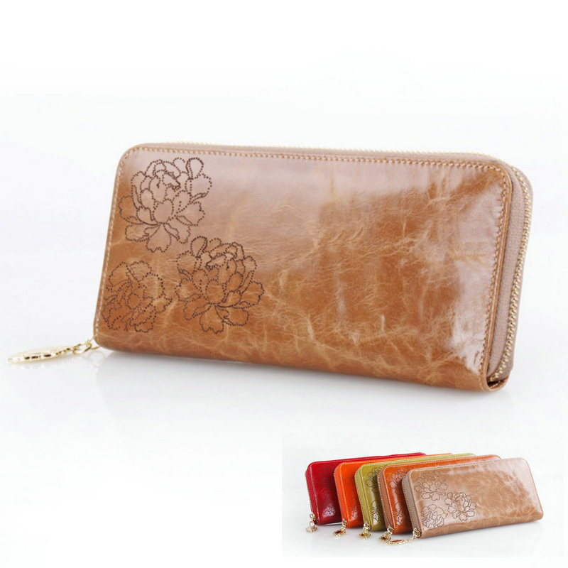 Genuine Leather Wallet Vintage Carving Multi Credit Cards Oil Waxing Cowhide Woman Purse Zipper Long Phone Hand Bag Coins Money